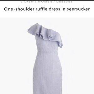 Jcrew one shoulder seersucker dress, NWT